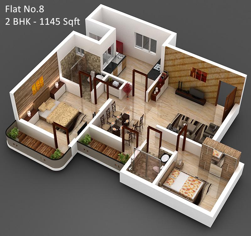 Ex My Houses 3d Home Design 2bhk Ground Floor
